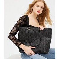 Black Leather-Look Woven Shopper Bag New Look Vegan