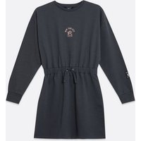 Girls Dark Grey NYC Logo Drawstring Waist Sweatshirt Dress New Look