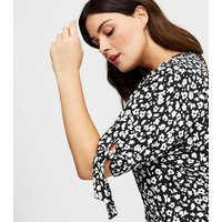 Curves Black Floral Tie Sleeve Blouse New Look