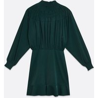 AX-Paris-Teal-Shirred-High-Neck-Dress-New-Look
