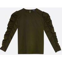 AX-Paris-Khaki-Ruched-Puff-Sleeve-Top-New-Look