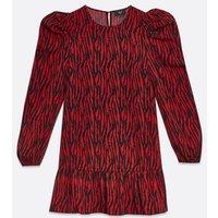AX-Paris-Red-Zebra-Print-Puff-Sleeve-Shift-Dress-New-Look