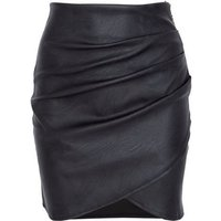 JUSTYOUROUTFIT Black Leather-Look Wrap Skirt New Look