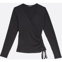 Petite Black Ribbed Ruched Side Wrap Top New Look