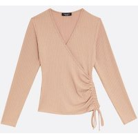 Petite Camel Ribbed Ruched Side Wrap Top New Look