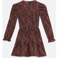AX-Paris-Red-Animal-Print-Puff-Sleeve-Skater-Dress-New-Look