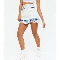 Blue Tie Dye Denim Mini Skirt New Look
