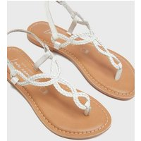 White Leather Twist Plait Strap Flat Sandals New Look