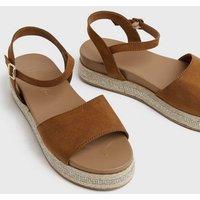 Wide Fit Tan Diamanté Trim Flatform Sandals New Look Vegan