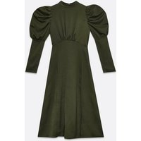 AX Paris Khaki High Neck Puff Sleeve Midi Dress New Look