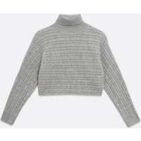 Petite Cable Knit High Neck Jumper New Look