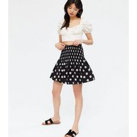 Black Daisy Shirred Mini Skirt New Look
