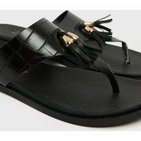 Black Faux Croc Tassel Footbed Flip Flops New Look Vegan