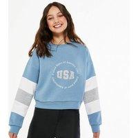 Girls Blue Colour Block USA Logo Sweatshirt New Look