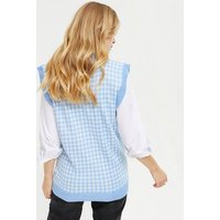 Cameo Rose Blue Dogtooth Sleeveless Vest Jumper New Look