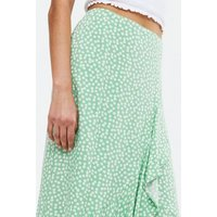 Green Ditsy Floral Ruffle Wrap Midi Skirt New Look