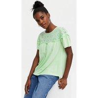 Light Green Broderie Panel T-Shirt New Look