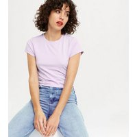 Lilac Cropped Slim Fit T-Shirt New Look