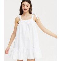 White Tie Strap Tiered Mini Sundress New Look
