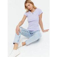 Lilac Ribbed Acid Wash Frill Trim T-Shirt New Look