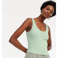 Light Green Ribbed Popper Vest New Look
