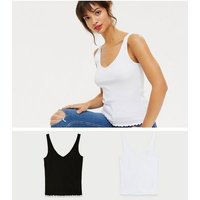 2 Pack Black and White V Neck and Back Vests New Look