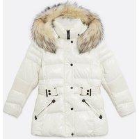 Blue Vanilla Off White Faux Fur Trim Puffer Jacket New Look