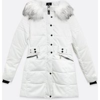 Blue Vanilla White Faux Fur Popper Puffer Jacket New Look