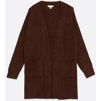 Urban Bliss Dark Brown Ribbed Knit Cardigan New Look