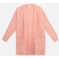 Urban Bliss Pale Pink Ribbed Knit Cardigan New Look
