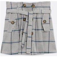 Pink Vanilla Light Grey Check Tie Waist Mini Skirt New Look