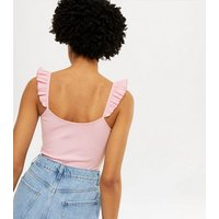 Pink Ribbed Frill Sleeve Bodysuit New Look