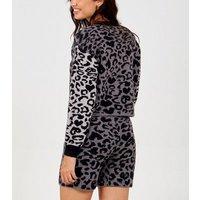 Pink Vanilla Light Grey Leopard Print Knit Lounge Shorts New Look