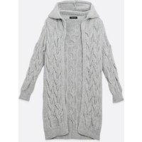 Cameo Rose Pale Grey Cable Knit Long Cardigan New Look