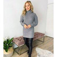 AX Paris Pale Grey Roll Neck Jumper Dress New Look