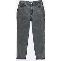 Petite Grey Acid Wash High Waist Tori Mom Jeans New Look