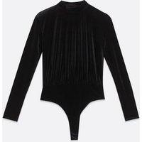 Pink Vanilla Black Velvet High Neck Bodysuit New Look