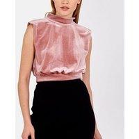 Pink Vanilla Mid Pink Velvet Padded Shoulder Top New Look