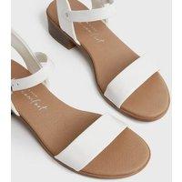 White 2 Part Low Block Heel Sandals New Look