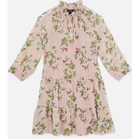 Pink Floral Tie Neck Chiffon Smock Dress New Look