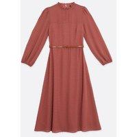 Rust Textured Spot Chiffon High Neck Belted Midi Dress New Look