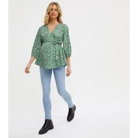 Maternity Green Floral Tie Waist Top New Look