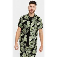 Men's Black Tropical Print Short Sleeve Shirt New Look