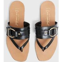 Wide Fit Black Leather Faux Croc Buckle Flip Flops New Look