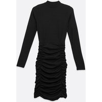 Pink Vanilla Black Ribbed High Neck Ruched Dress New Look