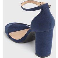 Wide Fit Navy Strappy Block Heel Sandals New Look Vegan
