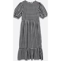 Urban Bliss Black Gingham Tiered Midi Dress New Look