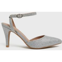 Wide Fit Silver Glitter Pointed Court Shoes New Look Vegan