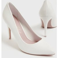 White Leather-Look Pointed Stiletto Court Shoes New Look Vegan