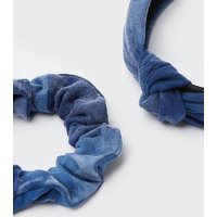 Blue Velvet Headband and Scrunchie Set New Look